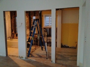 Under construction progress ~ demo of existing bath and laundry room walls