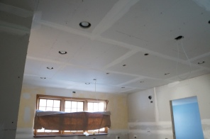 Under construction progress ~ new ceiling and lighting in kitchen