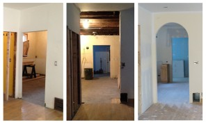 Under construction progress ~ opening into kitchen ~ before, during, after