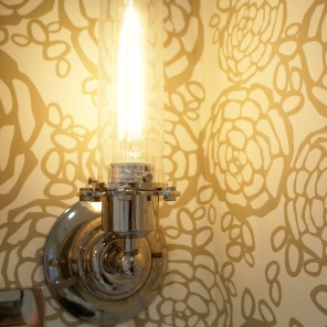 'After' first floor bath ~ wallpaper and light fixture closeup