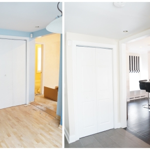 Before and after ~ old mud room is now mud room and laundry room