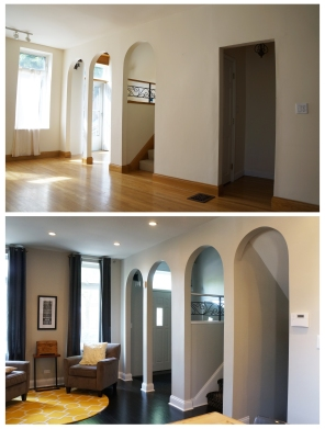 Before and after of living room arched openings