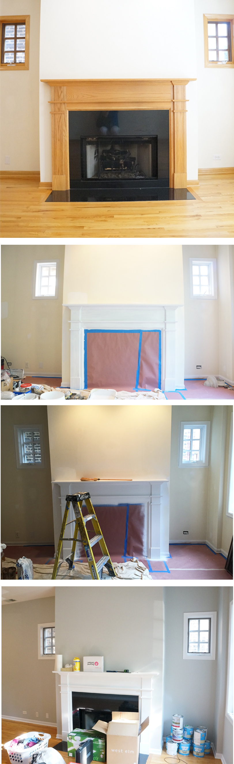 fireplace in progress